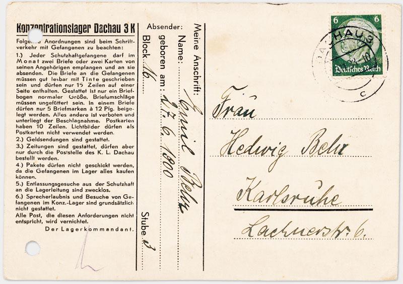 Vordruck Postkarte aus dem Konzentrationslager Dachau (Vorderseite)