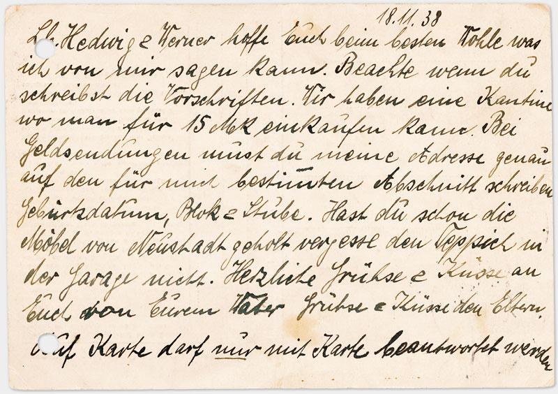 Postkarte aus dem Konzentrationslager Dachau (Rückseite, in Handschrift schwarze Tinte)