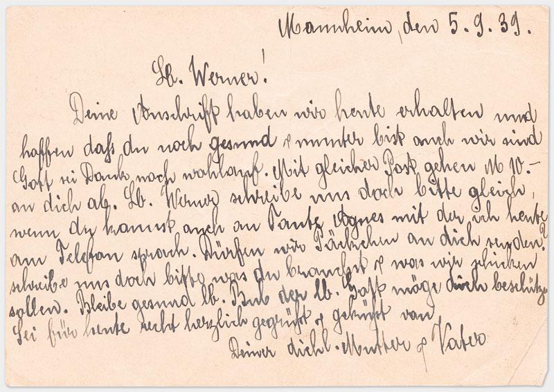 Rückseite der Postkarte mit Text, handschriftlich in schwarzer Tinte
