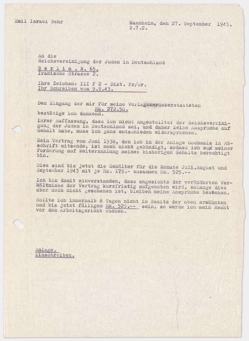 Brief an die Reichsvereinigung, Din A4, auf Schreibmaschine getippt, Durchschlag, sehr dünnes Papier.