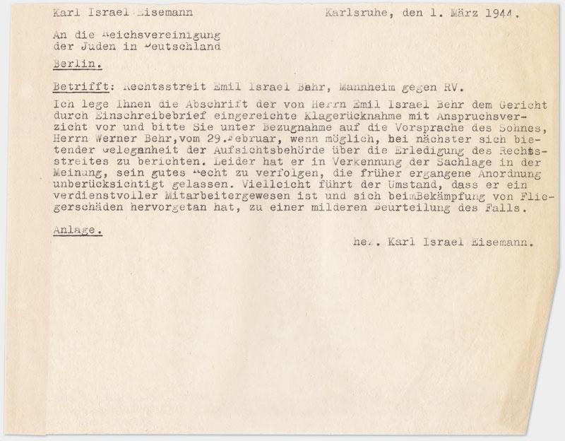 Brief an die Reichsvereinigung, Din A 5 Querformat auf Schreibmaschine getippt, Durchschlag, sehr dünnes Papier