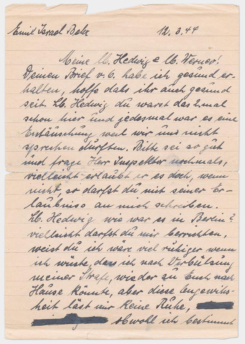 Seite 1 - Handschriftlicher Brief, Din A 5, liniert, Handschrift in schwarzer Tinte.