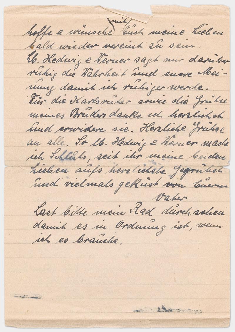 Seite 2 - Handschriftlicher Brief, Din A 5, liniert, Handschrift in schwarzer Tinte.