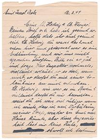 Handschriftlicher Brief, Din A 5, liniert, Handschrift in schwarzer Tinte.