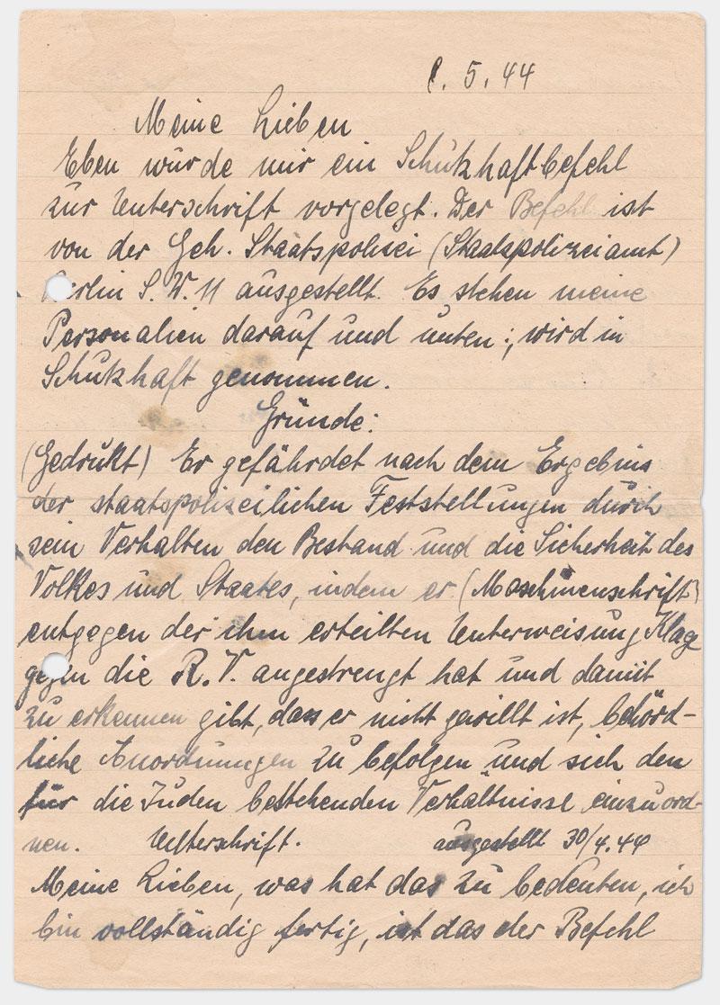 Seite 1 - handschriftlicher Brief, schwarze Tinte mit Flecken, rechts außen gelocht