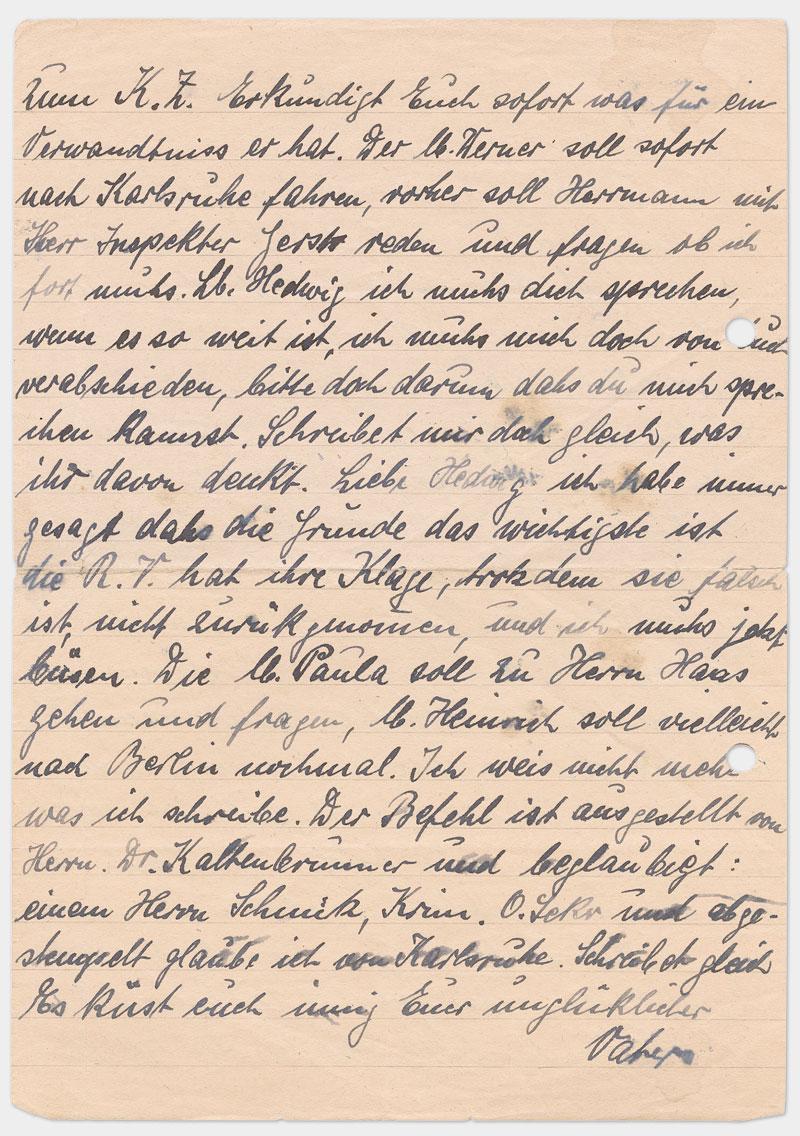 Seite 2 - handschriftlicher Brief, schwarze Tinte mit Flecken, rechts außen gelocht
