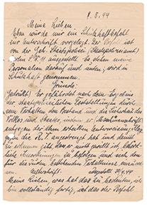 Handschriftlicher Brief an Hedwig und Werner Behr, in schwarzer Tinte mit Flecken, rechts außen gelocht