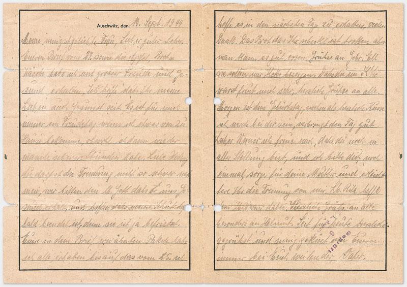 Vordruck Brief aus dem Konzentrationslager Auschwitz (Rückseite, in Handschrift, vermutlich Bleistift) Din A 4 Querformat
