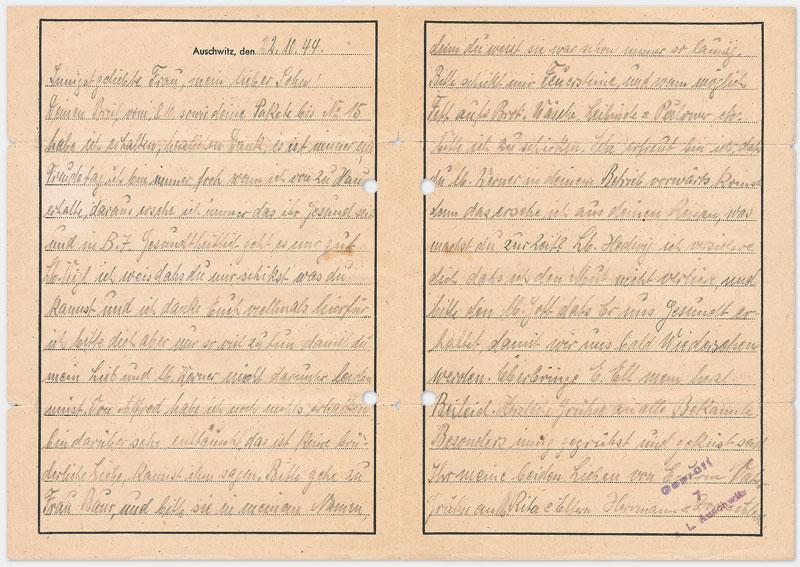 Vordruck Brief aus dem Konzentrationslager Auschwitz (Rückseite), Din A 4 Querformat