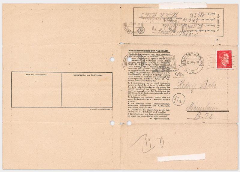 Vordruck Brief aus dem Konzentrationslager Auschwitz (Vorderseite), Din A 4 Querformat