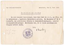 Bescheinigung der Polizeidirektion Mannheim, Din A5 quer, auf Schreibmaschine getippt