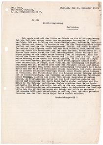 Brief an die Militärregierung Karlsruhe, auf Schreibmaschine getippt Din A4 eine Seite, liniertes Papier, schwarze Flecken an der Seite vermutlich von Schreibmaschinendurchschlag, zwei Mal gelocht links außen