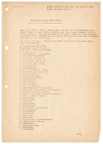 Eidesstattliche Erklärung, Schreibmaschine getippt, schwarze Farbe, Din A 4, leicht vergilbtes Papier, drei mal gelocht links außen