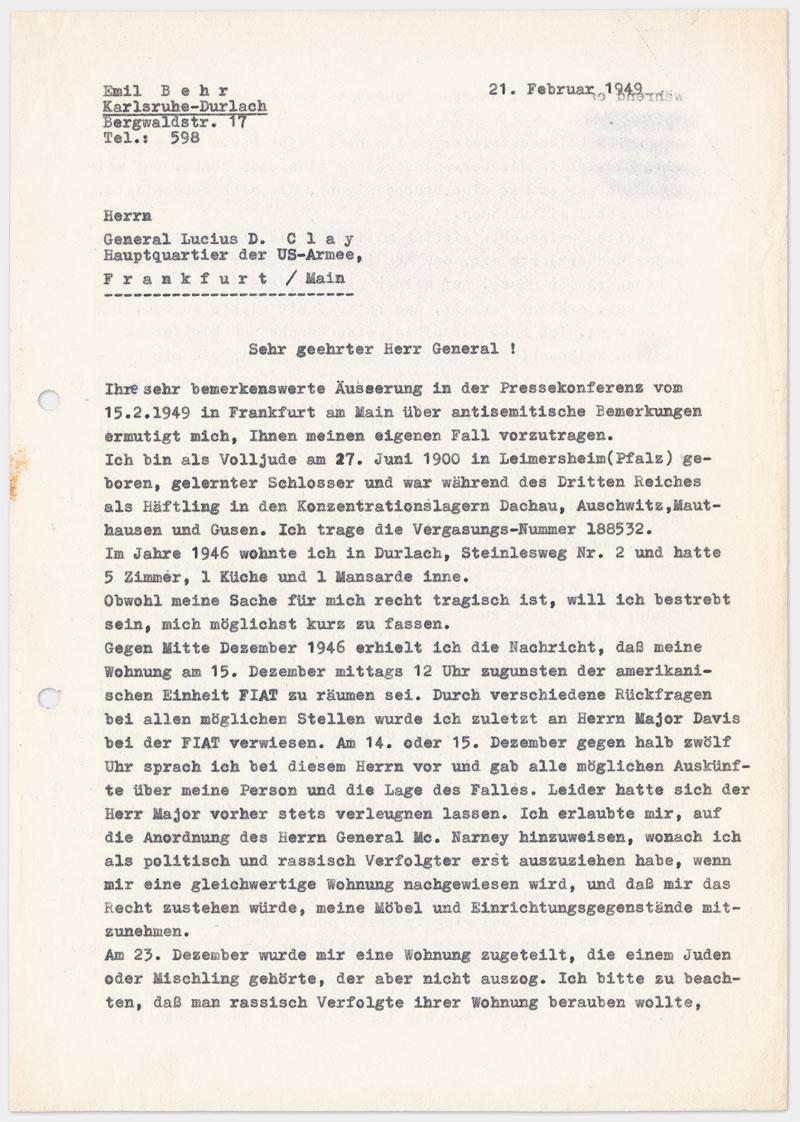 Seite 1 - Brief an den Militärgouverneur der Besatzungszone, auf Schreibmaschine getippt 4 Seiten Din A 4, links oben Abdruck von Klammer, Durchschlagspapier, sehr dünn