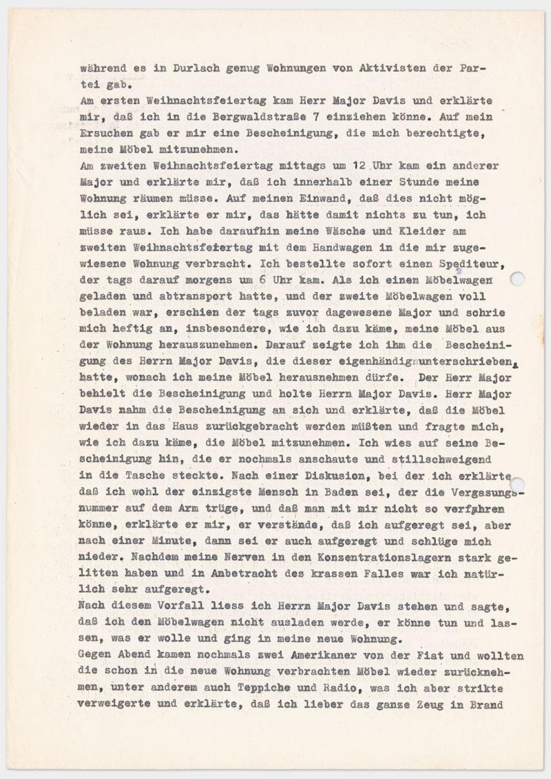 Seite 2 - Brief an den Militärgouverneur der Besatzungszone, auf Schreibmaschine getippt 4 Seiten Din A 4, links oben Abdruck von Klammer, Durchschlagspapier, sehr dünn