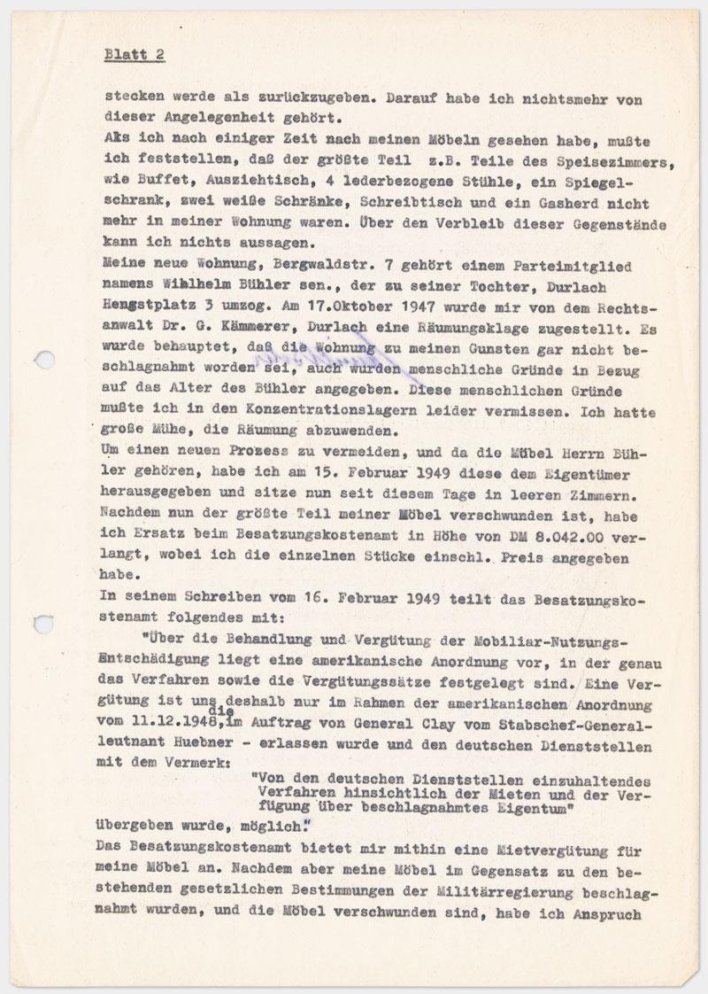 Seite 3 - Brief an den Militärgouverneur der Besatzungszone, auf Schreibmaschine getippt 4 Seiten Din A 4, links oben Abdruck von Klammer, Durchschlagspapier, sehr dünn