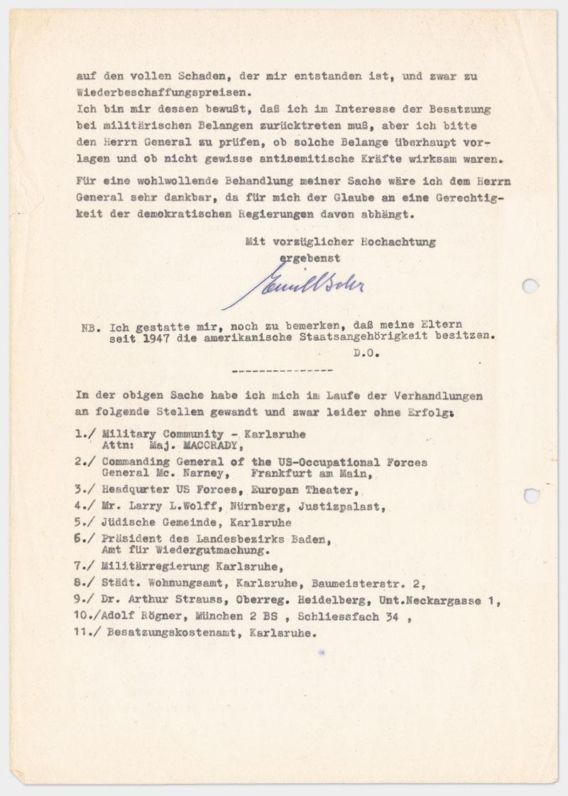 Seite 4 - Brief an den Militärgouverneur der Besatzungszone, auf Schreibmaschine getippt 4 Seiten Din A 4, links oben Abdruck von Klammer, Durchschlagspapier, sehr dünn