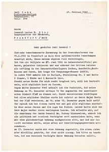 Brief an den Militärgouverneur der Besatzungszone, auf Schreibmaschine getippt 4 Seiten Din A 4, links oben Abdruck von Klammer, Durchschlagspapier, sehr dünn
