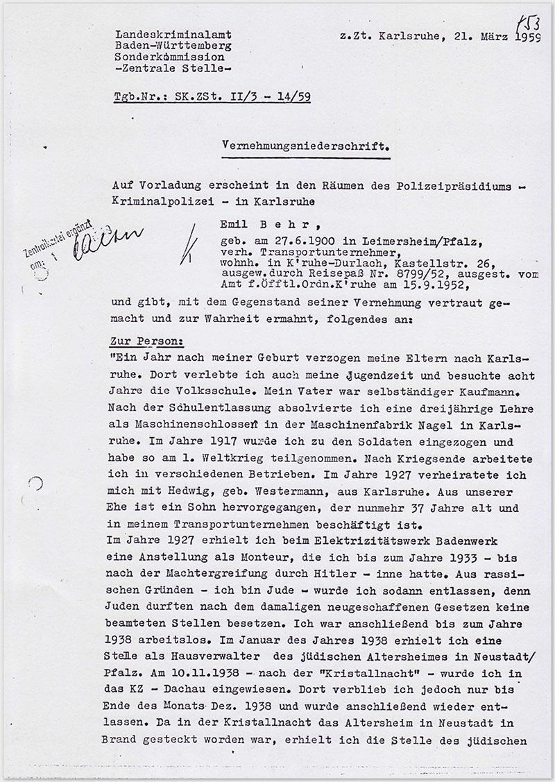 Seite 1 – Vernehmungsniederschrift Emil Behr, auf Schreibmaschine getippt