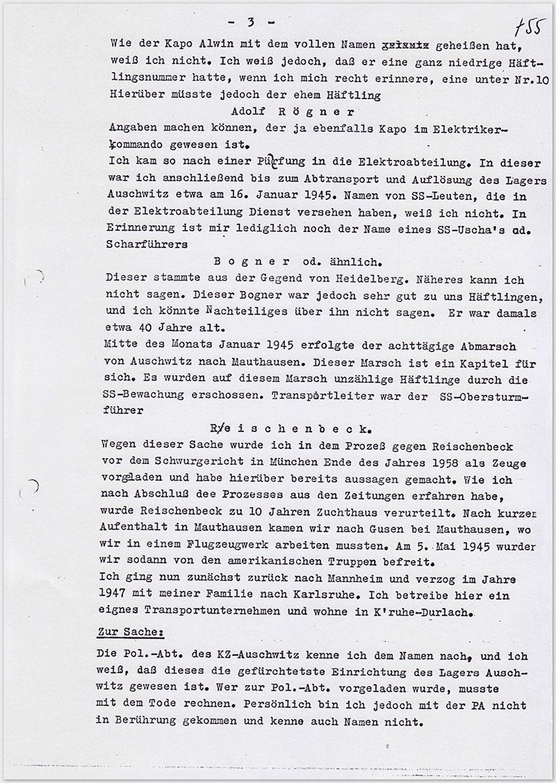 Seite 3 – Vernehmungsniederschrift Emil Behr, auf Schreibmaschine getippt