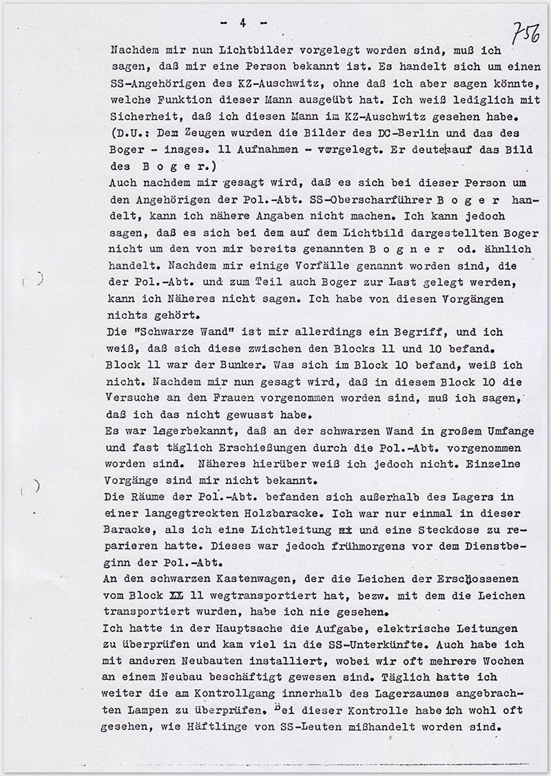 Seite 4 – Vernehmungsniederschrift Emil Behr, auf Schreibmaschine getippt