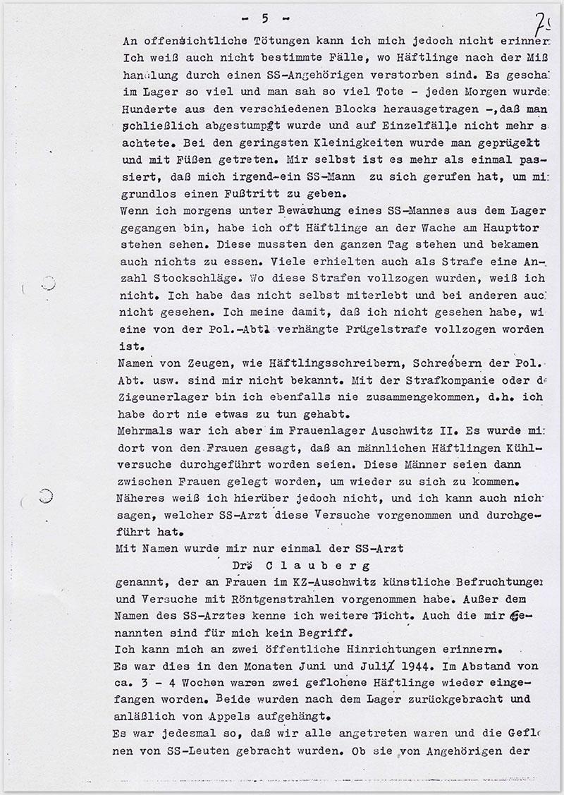 Seite 5 – Vernehmungsniederschrift Emil Behr, auf Schreibmaschine getippt