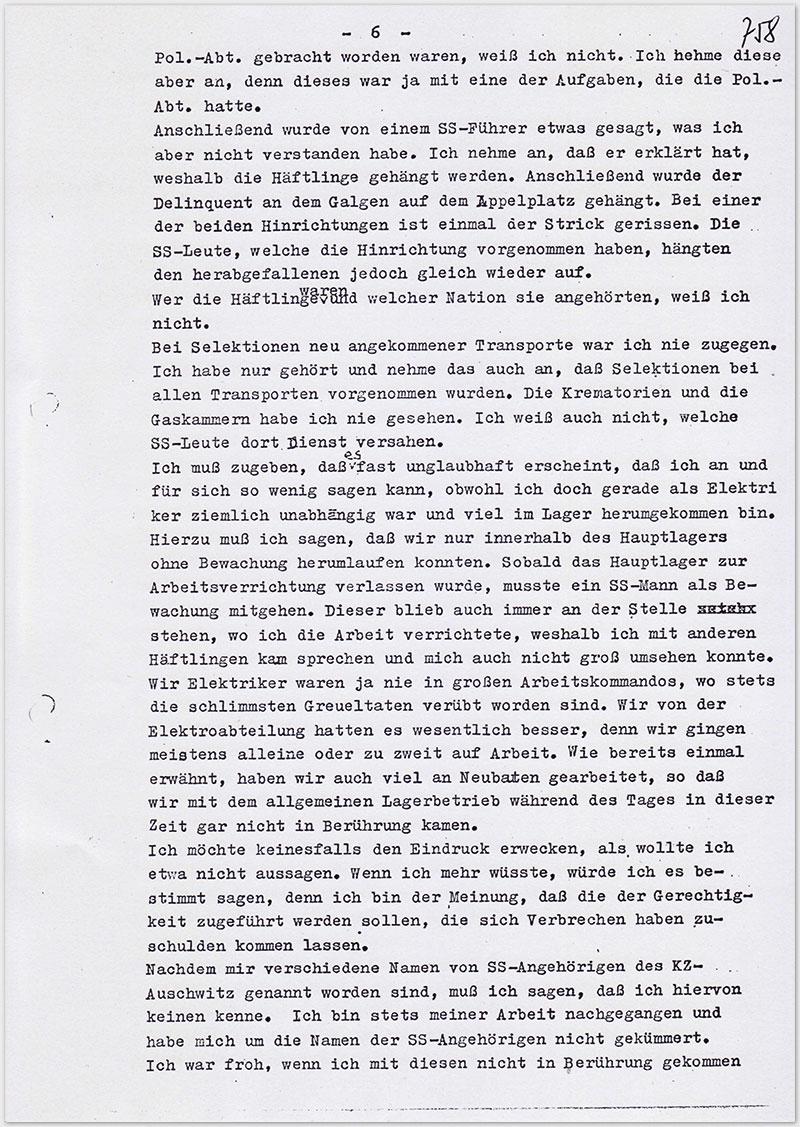 Seite 6 – Vernehmungsniederschrift Emil Behr, auf Schreibmaschine getippt
