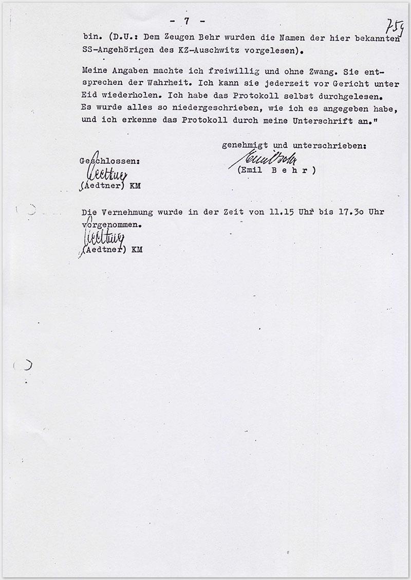 Seite 7 – Vernehmungsniederschrift Emil Behr, auf Schreibmaschine getippt