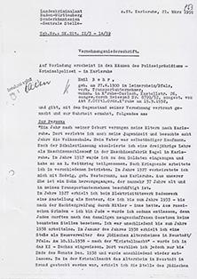 Vernehmungsniederschrift Emil Behr, auf Schreibmaschine getippt, Din A 4, 7 Seiten
